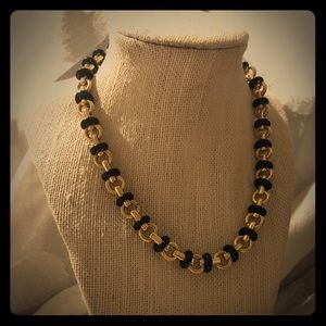 Monet gold tone and black bead chain necklace